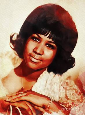 Music Paintings - Aretha Franklin, Music Legend  by Esoterica Art Agency