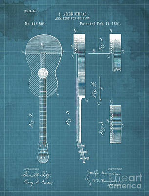 Royalty-Free and Rights-Managed Images - ARM REST FOR GUITARS Patent Year 1891 by Drawspots Illustrations
