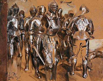 Drawing - Armor Chamber Fantasy by Adolph Menzel