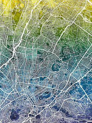 Digital Art - Athens Greece City Map by Michael Tompsett