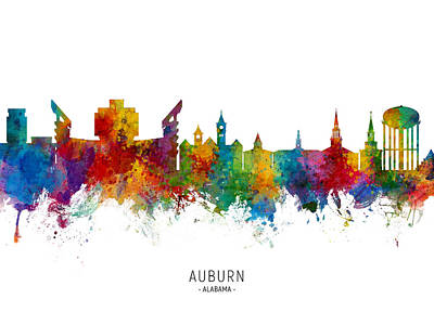 Digital Art - Auburn Alabama Skyline by Michael Tompsett