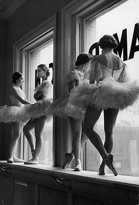 Standing Photograph - Ballerinas Standing On Window Sill In by Alfred Eisenstaedt