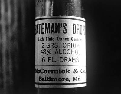 Steampunk Royalty-Free and Rights-Managed Images - Antique McCormick and Co Baltimore MD Batemans Drops Opium Bottle Label - Black and White by Marianna Mills