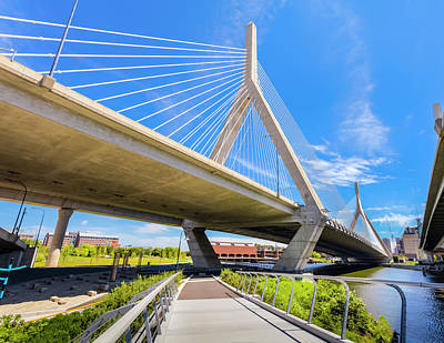Photograph - Boston - North Bank Walkway And Zakim by Drnadig