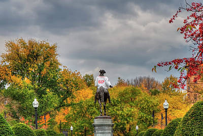 Politicians Royalty-Free and Rights-Managed Images - Boston Public Garden in Autumn by Joann Vitali