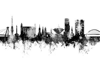 Digital Art - Bratislava Slovakia Skyline by Michael Tompsett