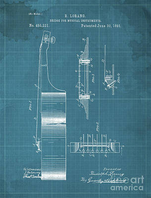 Royalty-Free and Rights-Managed Images - BRIDGE FOR MUSICAL INSTRUMENTS Patent Year 1891 by Drawspots Illustrations