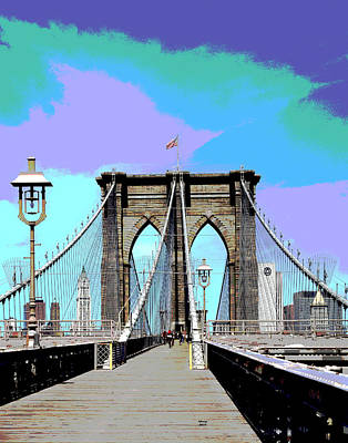 City Sunset Mixed Media - Brooklyn Bridge by Charles Shoup