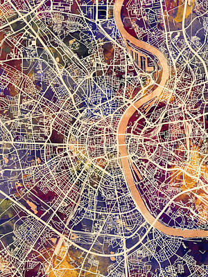 Digital Art - Cologne Germany City Map by Michael Tompsett