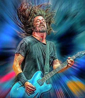 Musicians Royalty Free Images - Dave Grohl Musician Royalty-Free Image by Mal Bray