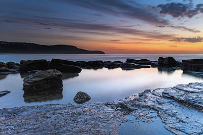 Photograph - Dawn, Rocks, Reflections And Wispy Clouds Seascape by Merrillie Redden