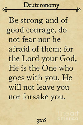 Painting - Deuteronomy 31 6. Inspirational Quotes Wall Art Collection by Mark Lawrence