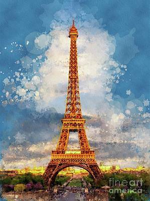 Paris Skyline Royalty-Free and Rights-Managed Images - Eiffal Tower, Paris, France by Sarah Kirk