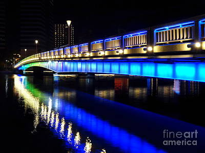 Photograph - Evening View Of The Love River And Illuminated Bridge by Yali Shi