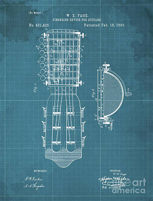 Musicians Drawings - FINGERING DEVICE FOR GUITARS Patent Year 1890 by Drawspots Illustrations