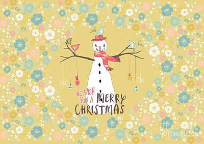 Clouds Royalty Free Images - Flower Power Christmas Snowman Royalty-Free Image by Amanda Jane