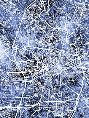 Digital Art - Frankfurt Germany City Map by Michael Tompsett