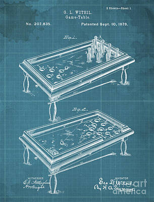 Royalty-Free and Rights-Managed Images - Game Table Patent Year 1878 by Drawspots Illustrations