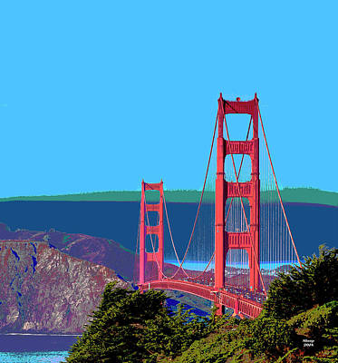 Mixed Media Royalty Free Images - Golden Gate Bridge Royalty-Free Image by Charles Shoup