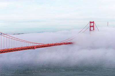 Golden Gate Bridge With Low Fog, San Art Print by Spondylolithesis