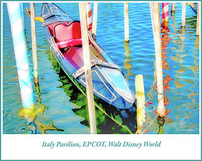 Photograph - Gondola, Italy Pavilion, Epcot, Walt Disney World by A Gurmankin