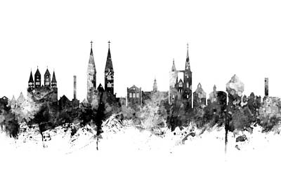 Digital Art - Halberstadt Germany Skyline by Michael Tompsett