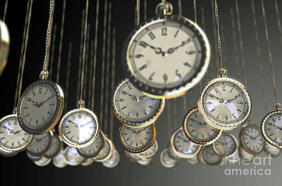 Digital Art Rights Managed Images - Hanging Pocket Watches Royalty-Free Image by Allan Swart