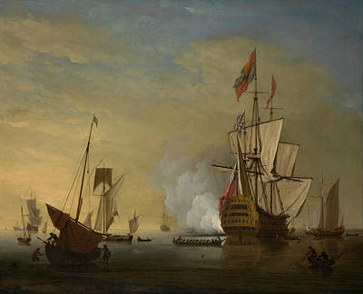 Painting - Harbor Scene - An English Ship With Sails Loosened Firing A Gun by Peter Monamy