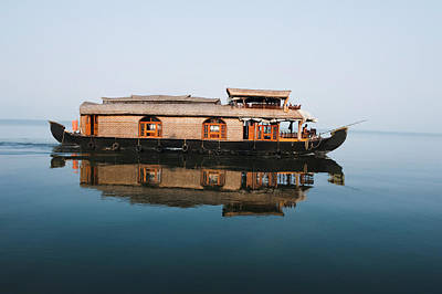 Kerala Photograph - Houseboat In A Lagoon, Kerala by Exotica.im
