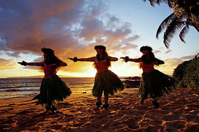 Traditional Clothing Photograph - Hula Dancers At Sunset by David Olsen