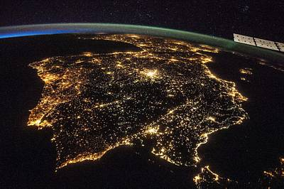 Painting - Iberian Peninsula At Night by Celestial Images