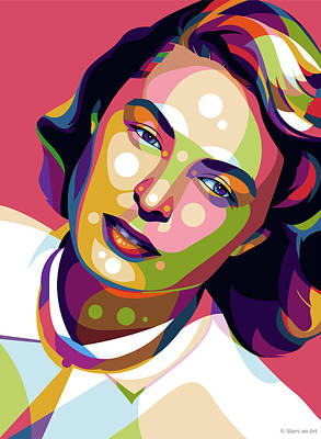 Colorful Fish Xrays - Ingrid Bergman illustration by Stars on Art