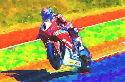 Mixed Media - John McGuiness  tt racer by David Ridley