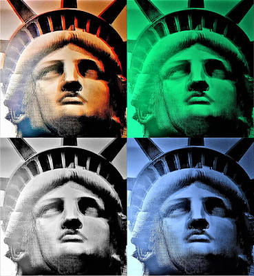 Photograph - Lady Liberty In Quad Colors by Rob Hans