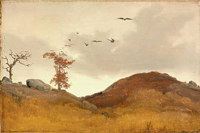 Painting - Landscape With Crows by Karl Friedrich Lessing