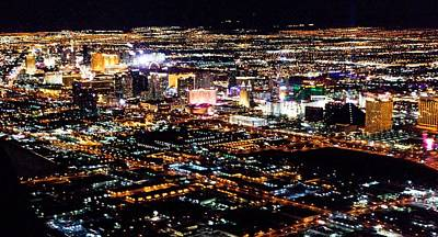 Photograph - Las Vegas City Lights From Airplane At Night by Alex Grichenko