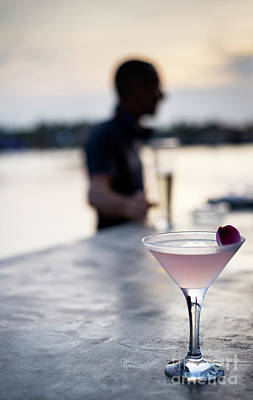 Martini Royalty-Free and Rights-Managed Images - Lychee And Jasmine Infused Vodka Martini Cocktail At Sunset Bar  by Jacek Malipan