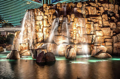 Photograph - Mirage Hotel Casino Volcano Fountain At Night by Alex Grichenko