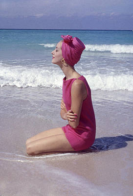 Photograph - Model On The Beach by Gordon Parks