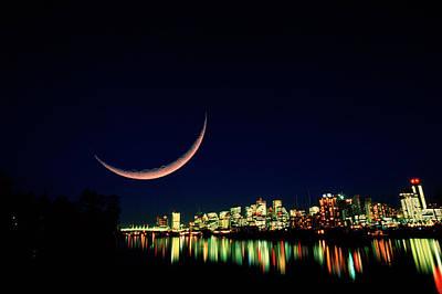 Photograph - Moon Over Vancouver by David Nunuk