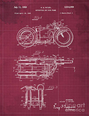 Royalty-Free and Rights-Managed Images - Motorcycle and Side Frame Patent by Drawspots Illustrations
