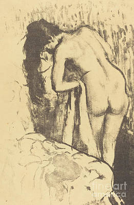 Drawing - Nude Woman Standing, Drying Herself  by Edgar Degas