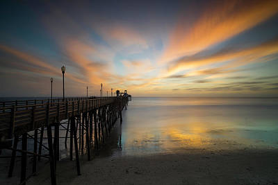 Piers Wall Art - Photograph - Oceanside Pier Sunset by Larry Marshall
