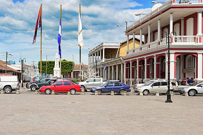 Featured Tapestry Designs - Old colonial buildings at Cathedral Plaza in Granada, Nicaragua. by Marek Poplawski