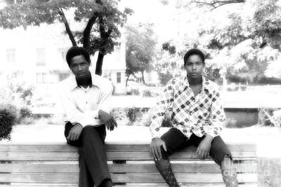 Digital Art - 2 Young Men On A Bench by Walter Oliver Neal