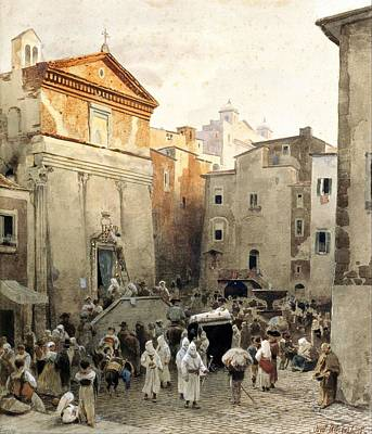 Painting - Oswald Achenbach   Funeral In Palestrina  C.1857  by Celestial Images