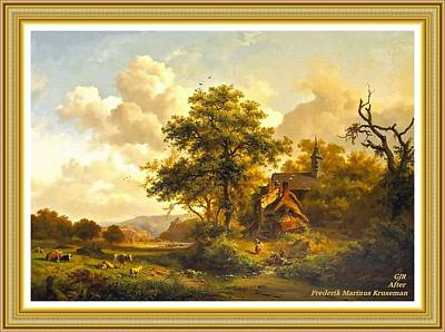 Cartoons Tees - Peaceful Landscape With Washer Women And Resting Cattle and Sheep - After Painting By F. Kruseman by Gert J Rheeders