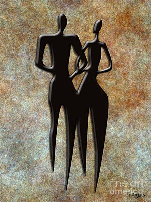 Digital Art - 2 People by Walter Oliver Neal