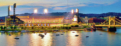 Sports Paintings - PNC Park by Aaron Geraud