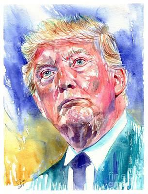 Art Wall Street Wall Art - Painting - President Donald Trump Portrait by Suzann's Art